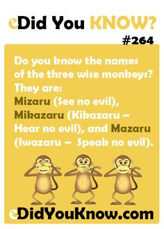 Do you know the names of the three wise monkeys? They are: Mizaru (See no evil), Mikazaru (Kikazaru – Hear no evil), and Mazaru (Iwazaru – Speak no evil).