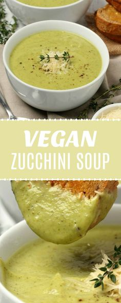 This simple recipe is ready in Ultra creamy vegan zucchini soup. This simple recipe is ready in 30 minutes and crazy delicious. It's also gluten-free. Vegan Zucchini Recipes, Vegetarian Recipes, Healthy Recipes, Healthy Drinks, Recipes With Vegan Mayo, Vegan Recipes Simple, Keto Recipes, Healthy Zucchini, Fast Recipes