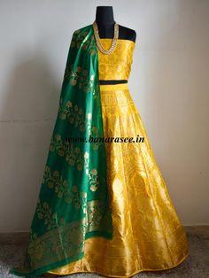 Banarasee/Banarasi Handwoven Art Silk Unstitched Lehenga & Blouse Fabric With Dupatta-Yellow