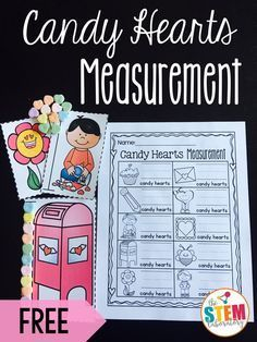 Fun measurement activity for Valentine's Day! How many conversation hearts tall? Great math center for pre-K, kindergarten or first grade.