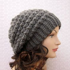 Charcoal Gray Slouchy Crochet Hat Womens by ColorMyWorldCrochet