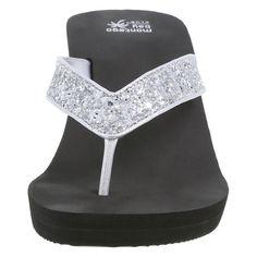 Women's Spark Glitter Wedge Sandal, Silver