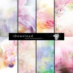 Digital Paper spring floral background, spring textures, paper scrapbooking set of 8 files 12 x12 inch in 300dpi RGB photoshop jpeg format. on Etsy, $5.42