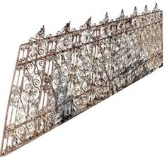 There is exquisite detail on this wrought iron, which has been all hand smithed and pinned. This is a rare find! The condition of the iron is good beneath the paint and is restorable with Stairs, Window Box, Wrought Iron Stairs, Iron Gates, Iron Windows, Vintage Iron, Wrought Iron Stair Railing, Ornate, Ceiling Lights
