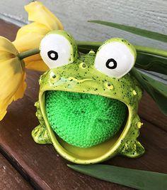 Green Frog Scrubbie, Ceramic Frog, Frog Soap Holder, Sponge Holder, Spring Frog, mother's day gift
