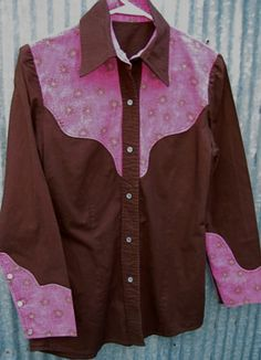 Pretty Vtg Western Cowgirl Shirt Pearl Snaps Fancy Rodeo Queen Pink Floral Yokes | eBay