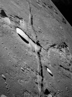 Rima Ariadaeus, a linear rile (a surface channel thought to be formed by lava) on the Moon's surface, as photographed from Apollo 10. Credit: NASA