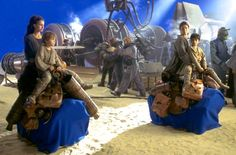 Pod race arrival, Anakin, Padme, Shmi