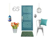 Traditional Shaker 730 exterior entry door, from $450, simpsondoor.com for stores; Paint: (door) Really Teal and (diamond pattern) Reflecting Pool, both by Sherwin-Williams; Emtek s40100 Davos Style stainless steel entry set, $316, build.com. Click next to learn how to create this painted pattern.