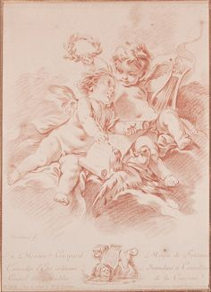 Thursdays Antiques offers a fine selection of and century French Etchings, engravings and prints. Cherub Tattoo, Vintage Illustration, Etiquette Vintage, Grisaille, Old Master, Wildlife Art, Gravure, Painting Inspiration, Art Drawings