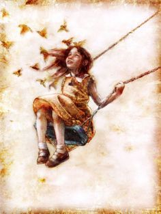 Oh how I love to go up in a swing up the the sky so high.I do think it the loveliest thing ever a girl can try. Girl on a swing by Beatriz Martin Vidal Art And Illustration, Casper The Friendly Ghost, Claude Monet, Amazing Art, Art For Kids, Art Drawings, Street Art, My Arts, Sketches
