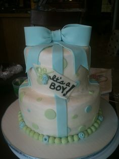 Classy baby shower cake for boy