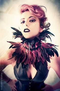 Trashglam Gothic STEAMPUNK couture coque feathered neck CORSET choker COLLAR.