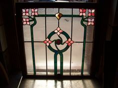 Nature Flowers and Swirls Center Stained Glass Window Text Glass