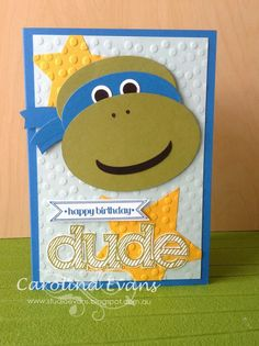 Teenage Mutant Ninja Turtle Punch Art Card, Using Stampin' Up! products created by Carolina Evans #stampinup