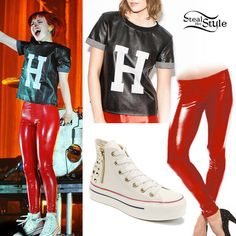 Hayley Williams from the band Paramore looks great in our red latex leggings during their recent concert in Dublin! Grab your own leggings here http://www.syren.com/pants-leggings-p-111-latex-leggings.aspx and check Steal Her Style to find out how to get the rest of the look!