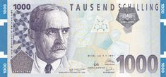 Austria banknotes 1000 Austrian Schilling banknote of 1997 Karl Landsteiner East Germany, Old Paper, Vienna, The Past, History, Retro, World, Travelling, Finance