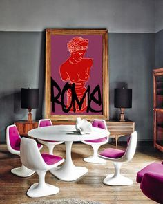 Eclectic Dining Room – Home Decor İdeas Modern Pink Dining Rooms, Dining Room Chairs, Casa Pop, Interior Inspiration, Design Inspiration, Furniture Inspiration, Deco Rose, Interior And Exterior, Interior Design