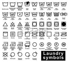 laundry: Icon set of laundry symbols, vector illustration