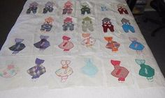 23! 12 SUNBONNET SUE and 11 OVERALL SAM vintage applique handsewn QUILT BLOCKS