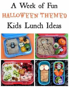 A whole weeks worth of fun and healthy Halloween bento lunch ideas for kids - perfect themed school lunches for October! A whole week's worth of fun Halloween themed bento lunches that kids will love! Lots of fun packed lunch ideas for October! Creepy Halloween Food, Halloween Snacks For Kids, Halloween Treats For Kids, Fall Snacks, Halloween Fun, Spooky Treats, Kid Snacks, Halloween Desserts, Kids Lunch For School