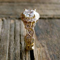 Round Brilliant Diamond Engagement Ring in by AdziasJewelryAtelier