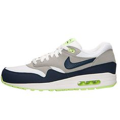 brand new c9867 6de55 Nike Air Max 1 Essential Mens 537383-140 Navy Silver Green Running Shoes Sz  8