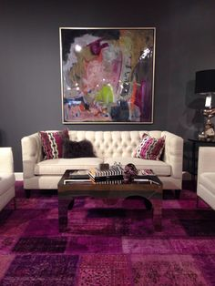 LIVING ROOM IDEA | grey walls/pink rug | bocadolobo.com/ #livingroomideas #livingroomdecor
