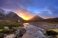 Cottage at sunset, Glencoe Scotland
