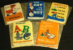 "Dr. Seuss Party - These cakes gave me the idea to do a book sheet cake, but we did the ""Happy Birthday"" Book from Dr. Seuss."