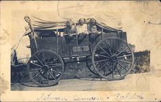 Vintage, Covered Wagon, Family