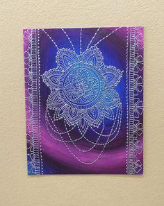 Mehndi Inspired Mandala with Floral Border and by GonzSquared #henna #mehndi #mixedmedia #hennapainting #mehndipainting #hennadesign #mehndidesign #galaxy