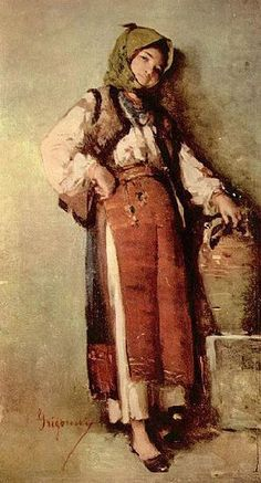 Nicolae Grigorescu - Bauerin mit Krug  Romanian Painter