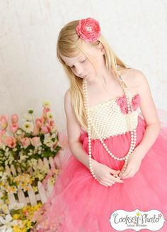 Newborn - Size 8 Elegant Ivory and Fuschia Flower Girl Tutu Dress (Add 8.00 listing to cart with this for 6-8 year size)