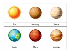 Solar System3-part cards Montessori 4 pages featuring the sun, moon andall 8planets(Mercury, Venus, Earth, Mars, Jupiter, Saturn, Uranus, and Neptune) Picture-and-label cards, picture-only cards, and label-only cards Instant digital downloads product in PDF format   Get this printable for free! Join our subscriber list by entering your email in the box at the top of the page and receive a code for $10 off your purchase of this - or any other - printable! *New subscribers only*