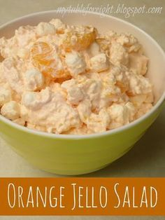 Orange Jello Salad --- Super Fast and Easy! I just made it for my little 78 yr old Mom. She loved it! ate 2 cups full! ;-) I changed the directions to the following: Toss Drained fruit in large mixing bowl. Add Cottage Cheese till all incorporated. Sprinkle Jello powder gradually as mixing into the fruit mixture. Let sit a moment then fold in the Cool Whip. Fold in the Marshmallows. Chill or serve immediately.