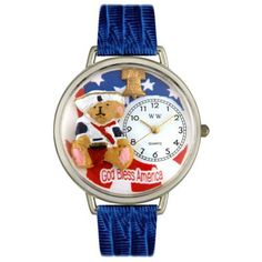 Whimsical Unisex Patriotic Teddy Bear Royal Blue Leather Watch