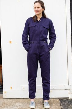 This is the classic Spry Boiler, made in East Anglia from navy blue cotton twill. Denim Jumpsuit, Overalls, Shorts, Woman Mechanic, Boiler Suit, Playsuit Romper, Jeans Button, Jumpsuits For Women, Work Wear