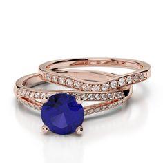 Gold / Platinum Round cut Tanzanite and Diamond Bridal Set Ring Ruby Rose, Rose Gold, Gold Platinum, Bridal Sets, Bracelet Watch, Emerald, Sapphire, Sparkle, Wedding Rings