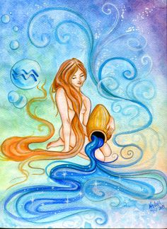 Watercolor - Star Sign - Aquarius - Print from Original Painting - Zodiac Series