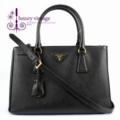 PRADA LUX Small Black Color Saffiano Leather Good Condition Ref.code-(KRKO-1) More Information Pls Email  (- luxuryvintagekl@ gmail.com )