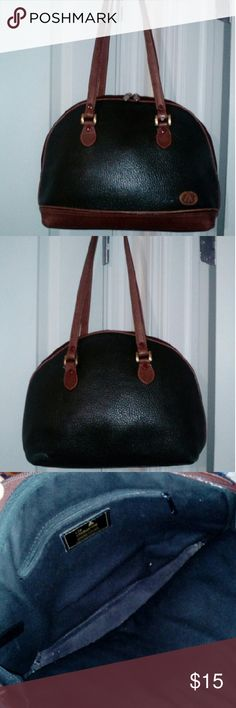"Dome shaped leather bag Vintage. Liz Claiborne. 100% pebbled leather. Excellent used condition. Clean inside out. Zipper closes from both sides up. Brown leather handles, trimmings. Strap drop is 11"" so fits on shoulder comfortably. 14 5"" widest bottom, 10"" high, 4"" wide. Medium sized bag. Dark green n brown color matches everything. This bag is more gorgeous in person! Liz Claiborne Bags Shoulder Bags"