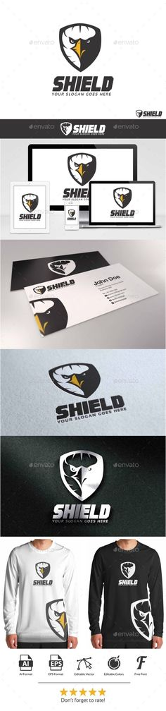 Eagle Shield Logo — JPG Image #bold #bird • Available here → https://graphicriver.net/item/eagle-shield-logo/9446376?ref=pxcr