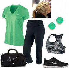 A fashion look from January 2014 featuring NIKE, nike sports bra and sport shoes. Browse and shop related looks. Moda Outfits, Sporty Outfits, Athletic Outfits, Cute Outfits, Gym Outfits, Workout Attire, Workout Wear, Workout Outfits, Nike Workout