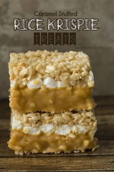 Soft and gooey, double-decker caramel stuffed rice krispie bars.