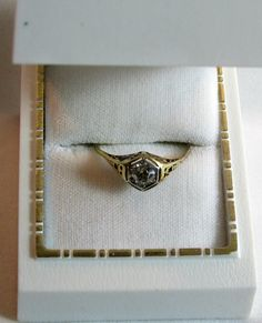 14K Gold Art Deco Diamond Ring | Engagement | Wedding | Bridal | Filigree Design. on Etsy, $900.00