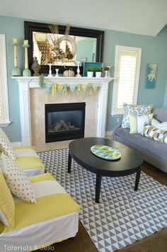 grey and yellow living room at tatertots and jello #Christmas #thanksgiving #Holiday #quote