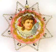 Early Antique Cherub in SatinPink by DresdenStarOrnaments http://victorianornaments.com/