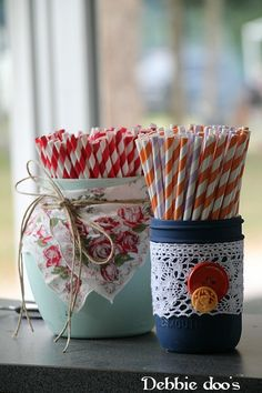 Painting cans and mason jars for  a wedding