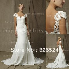 Wholeslae-2013 backless wedding dress cap sleeves sweetheart lace top a line Bridal Gown dress BO1860 $198.00